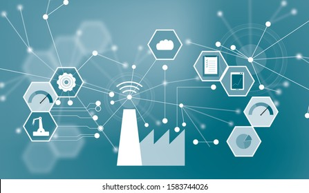 Graphic representation of IIoT, Industrial Internet of Things. Sensors and processes connected via WiFi or the internet for asset management or predictive maintenance in factories.