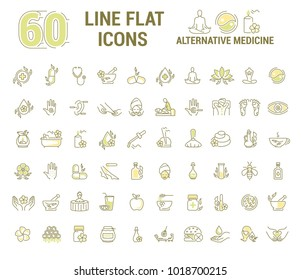 graphic set.Icons in flat, contour, thin and linear design. Alternative medicine. Natural beauty. Simple isolated icon on white background. Concept illustration for Sign,symbol,emblem. Raster version