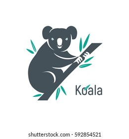 Graphic silhouette of a koala bear sitting on a branch with leaves of eucalyptus. Isolated color illustration.