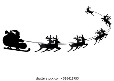 Graphic silhouette of Santa flying in sleigh harnessed with nine reindeers