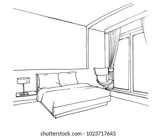 Graphic sketch bedroom, bed, chair, liner