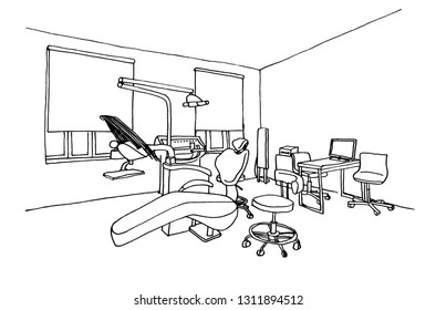 Graphic sketch dentist office clinic, liner.