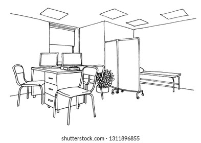 Graphic sketch doctor's office, admission of patients, liner.