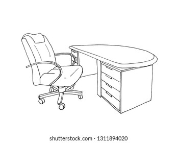 Graphic sketch executive, director's desk and leather chair, liner.