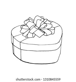Graphic sketch of gift, heart shaped box with a bow, liner.