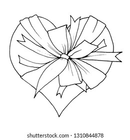 Graphic sketch, heart with a big bow, liner.