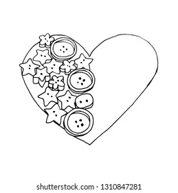 Graphic sketch, heart and buttons - the love of needlework, liner.