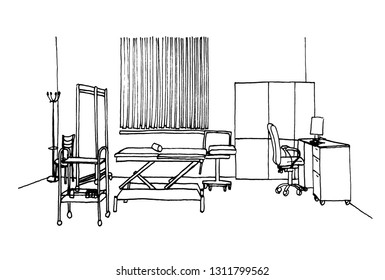Graphic sketch, hospital, operating room, liner.