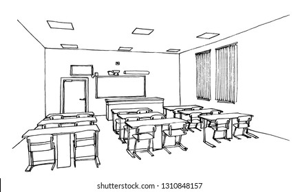 Graphic sketch of an interior classroom, liner
