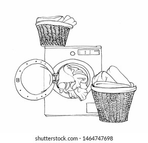 Graphic sketch laundry, open washing machine and two baskets with linen.