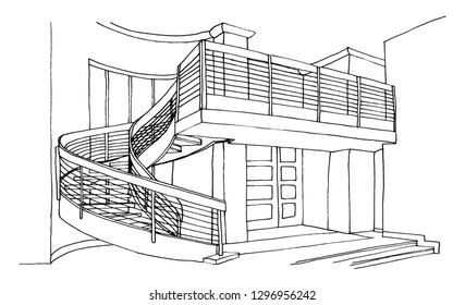 The graphic sketch living room in the house. Stairs to the second floor.