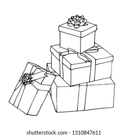 A graphic sketch lots of gifts with bows, liner