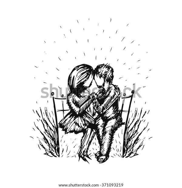 Graphic Sketch Romantic Happy Young Couple Stock Illustration