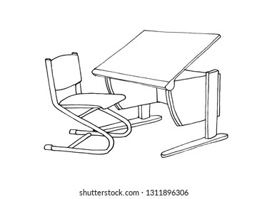 Graphic sketch school desk and chair, liner.