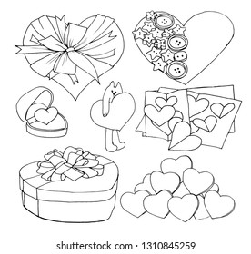 Graphic sketch, set, collection of hearts, cat, gift, card, liner.