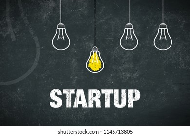 Graphic: startup - light bulbs and text on a chalkboard