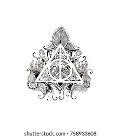 Graphic symbol of the deathly Hallows black and white with patterns on a white background