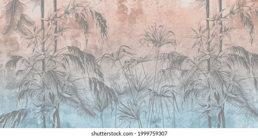 Graphic tropical flowers painted on a colourful grunge wall. Floral background. Design for wall mural, card, postcard, wallpaper, photo wallpaper.