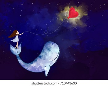 pintura digital aquarela gráfica de menina stand em baleia segurar balão coração sobre o fundo estrelado noite. Ideia de imaginação, amor, romântico, carinho, sonho, fantasia, tranquilo, papel de parede modelo de paz