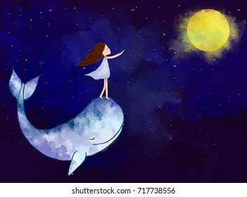 pintura digital aquarela gráfica da menina com baleia atingindo a lua sobre o fundo do céu da noite. Ideia de imaginação, esperança, sonho, fantasia, arte, abstrato, paz, abstrato conceito de papel de parede modelo