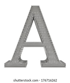 Graphical chain mesh metal lettering isolated on white background.