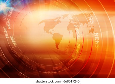 Graphical digital news background with world map and concenteric waves circles