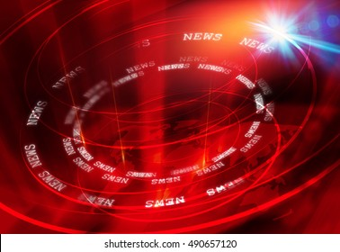 Graphical Modern Studio News Background, Suitable for Internet and Tv News. Multipe Round Circle Around The Earth Map with Lens Flare Effect.