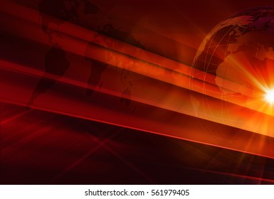Graphical News Background, Red Theme Background with Earth Globe and Lens Flare .