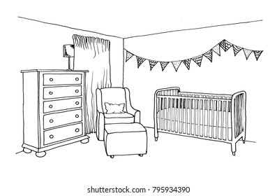 Graphical sketch of an interior children's room with cot, window, armchair and chest of drawers