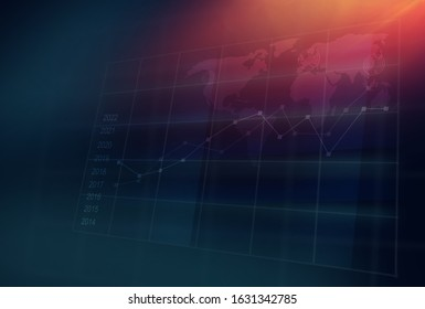 Graphical statistic graph 3d space in front of world map