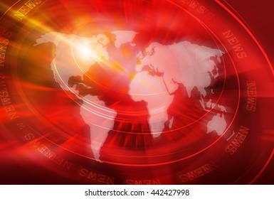 Graphical World News Studio Background, 3d illustration