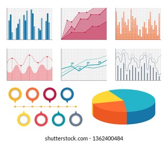 Graphics for all types of information set. flat curves thin bars and volumetric diagram with sections. data in form graphic raster illustration.