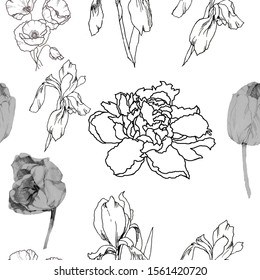 Graphics flowers isolated on white background seamless pattern;for all prints on han d drawing style.