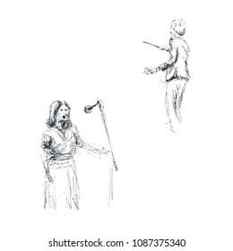 Graphics - sketch at the concert, conductor and woman vocalist