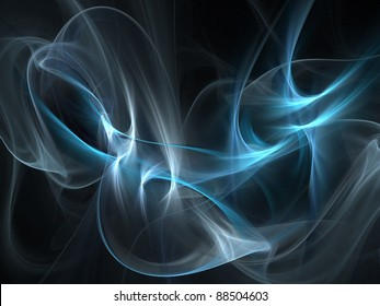 Graphics texture. Computer rendered background. 3D fractal. Smooth blue smoke.