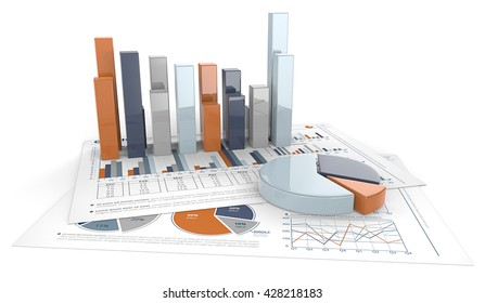 Graphs and Charts. 3D render of financial documents with graphs and pie charts. Calm Colors.