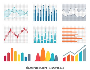 Graphs colorful representation poster with graphics and information business charts set raster illustration isolated on white background