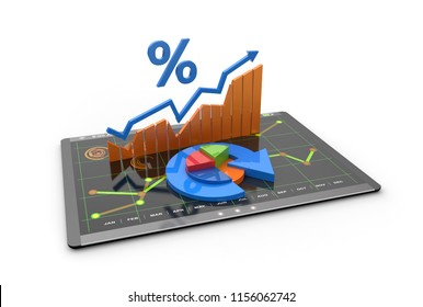 Graphs showing rising inflation, price rises and economic spending 3D illustration