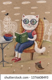 grapic illustration cat with book in the garden