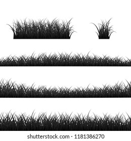 Grass Borders Set. Black Grass Panorama. illustration isolated on white background
