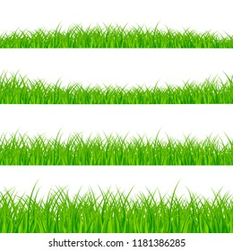 Grass Borders Set. Grass Plant Panorama. Grass border or frame. illustration isolated on white background