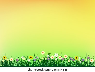 Grass and flowers on color spring or summer background. Beautiful nature meadow