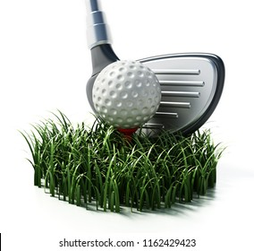 Grass, golf club and ball isolated on white background. 3D illustration.