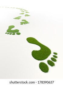 grass green footprints in white background