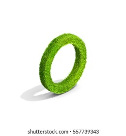 Grass letter O in uppercase format from isometric angle with shadow on ground. 3D illustration isolated on white background.