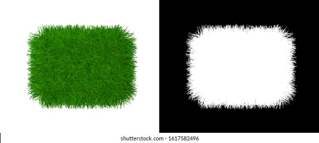 Grass Name Plate Isolated Element Design - Grassy Tile Texture with Alpha Channel - Herbaceous Slat 3d Rendering Icon Banner