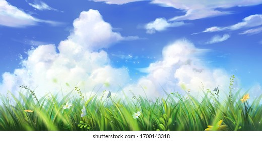 Grass, Sky and Cloud. Wallpaper. Fantasy Backdrop. Concept Art. Realistic Illustration. Video Game Digital CG Artwork Background. Nature Scenery.