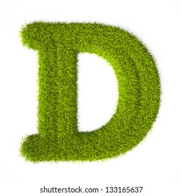 Grass style Latin Alphabet Letter D Isolated on white background