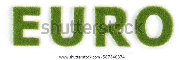 Grass word Euro 3d illustration