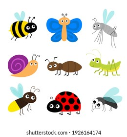 Grasshopper, fly, firefly, ant, mosquito, bee bumblebee, butterfly, snail cochlea, lady bug ladybird flying insect icon set. Ladybug. Cute cartoon kawaii character. Flat design White background